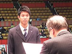 国民体育大会賞団体受賞者代表 テニス競技 韓成民(つくば国際大学東風高等学校)